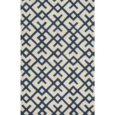 Weston Lifestyle Collection Ivory/Navy 3 ft. 6 in. x 5 ft. 6 in. Area Rug