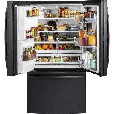 36 in. W 27.8 cu. ft. French Door Refrigerator with Door-in-Door in Black Slate, Fingerprint Resistant