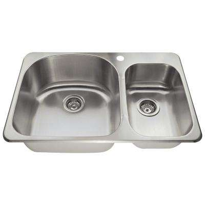 Top Mount Stainless Steel 31-1/2 in. 1-Hole Double Bowl Kitchen Sink