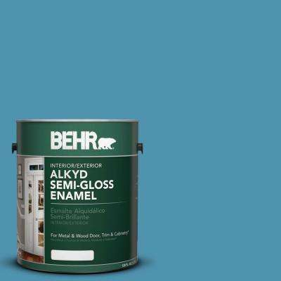 1-gal. #AE-46 Champion Blue Semi-Gloss Enamel Alkyd Interior/Exterior Paint