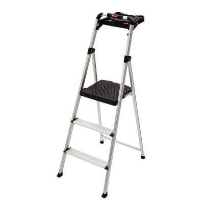 3-Step Ultra-Light Aluminum Step Stool with Project Tray 225 lbs. Capacity Type II Duty Rating