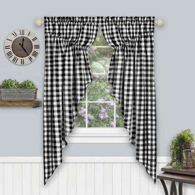 Buffalo Check Black Polyester/Cotton Light Filtering Gathered Window Curtain Swagger 36 in. W x 63 in. L