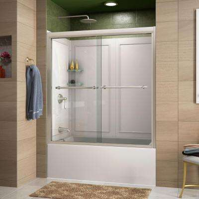 Duet 60 in. x 60 in. Sliding Bypass Tub/Shower Door in Brushed Nickel and Backwall with Glass Shelves