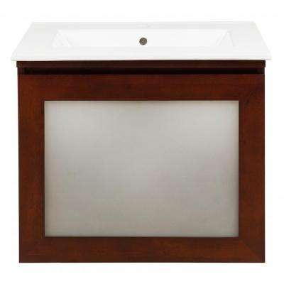 Blox 25 in. Vanity in Dark Walnut with Vitreous China Vanity Top in White with White Basin