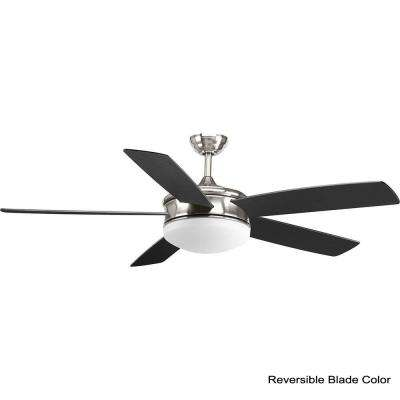 Fresno Collection 60 in. LED Indoor Brushed Nickel Coastal Ceiling Fan with Light Kit and Remote