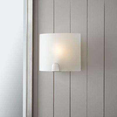 Obsidian 1-Light Brushed Nickel Sconce with Frosted Glass Shade