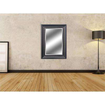 Reflection 24 in. x 36 in. Bevel Style Framed Black Silver Finish Mirror