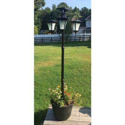 Heritage 3-Lamp Solar Powered Flame Effect LEDs with 18.5 in. Planter