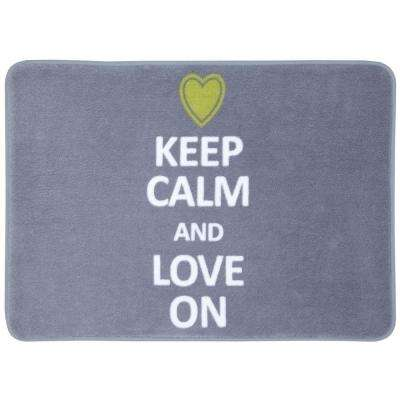 Mohawk Home Keep Calm and Love on Gray 17 inch x 24 inch Bath Rug