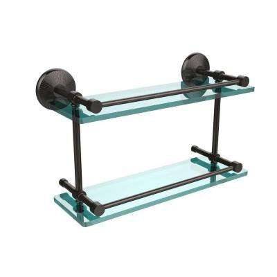 Monte Carlo 5 in. W x 16 in. L Double Glass Shelf with Gallery Rail in Oil Rubbed Bronze
