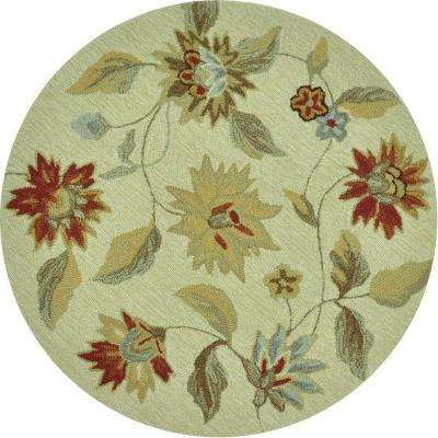 Summerton Lifestyle Collection Ivory/Red 3 ft. Round Area Rug