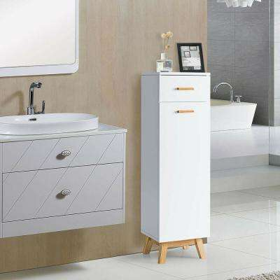 12 in. W Non Wall Mounted Waterproof Bathroom Cabinet with Adjustable Shelves and Sliding Drawer in White