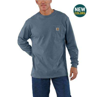 Men's Steel Blue Cotton Workwear Pkt Long Sleeve T-Shirt