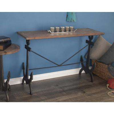 Nautical Brown Anchor Console Table