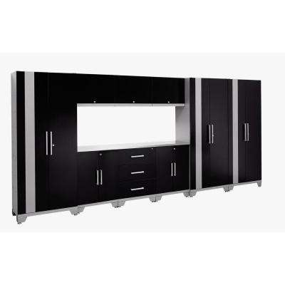 Performance Series 77 in. H x 162 in. W x 18 in. D 24-Gauge Welded Steel Cabinet Set in Black (10-Piece)