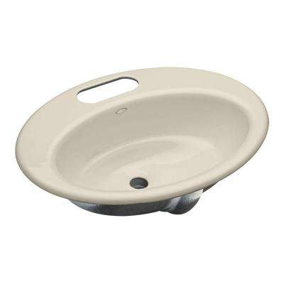 Thoreau Undermount Cast Iron Bathroom Sink in Biscuit with Overflow Drain