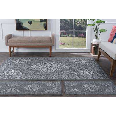 Majesty Charcoal 5 ft. x 7 ft. 3-Piece Rug Set