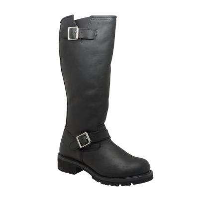 Men's Black Full-Grain Oiled Leather Biker Boot