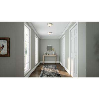 11 in. 1-Light Brushed Nickel Flush Mount with Frosted Glass Shade (2-Pack)