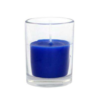 Zest Candle 2 inch Blue Round Glass Votive Candles (12-Box)