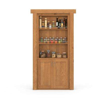 30 in. x 80 in. Flush Mount Assembled Forward Pantry Door Alder Natural Stained Left-Hand Inswing