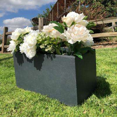 Small 23.2 in. x 11.8 in. x 12 in. Granite Lightweight Concrete Modern Long Low Planter