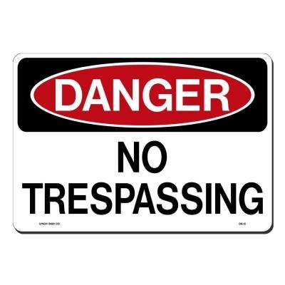 14 in. x 10 in. Black and Red on White Plastic Danger No Trespassing Sign