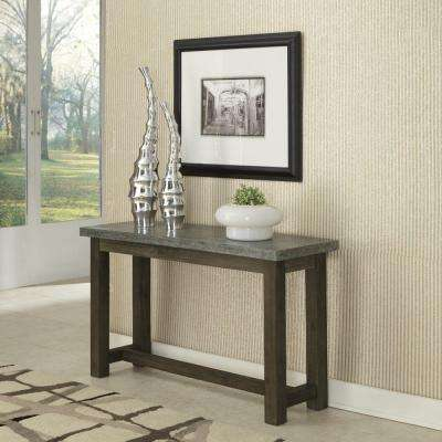 Concrete Chic Weathered Brown and Aged Metal Console Table