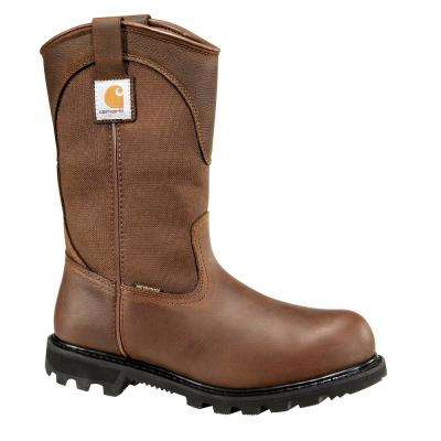 Traditional Men's Brown Leather/Fabric Lug Bottom Waterproof Steel Safety Toe Work Boot