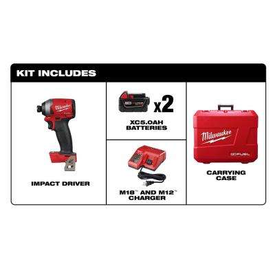 M18 FUEL 18-Volt Lithium-Ion Brushless Cordless 1/4 in. Hex Impact Driver Kit with Two 5.0Ah Batteries Charger Hard Case