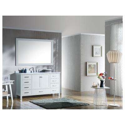 Cambridge 61 in. Bath Vanity in White with Marble Vanity Top in Carrara White with White Basin