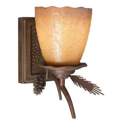 Lodge 1-Light Weathered Spruce Bath Light