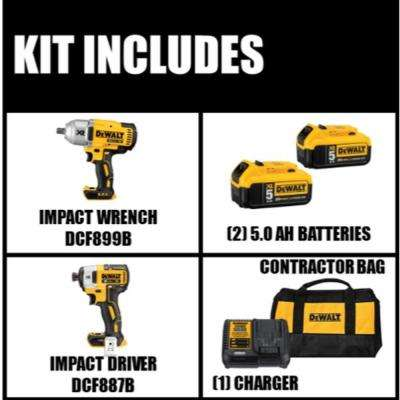 20-Volt MAX XR Lithium-Ion 1/2 in. Cordless Impact Wrench Kit with Detent Anvil and Free Impact Driver