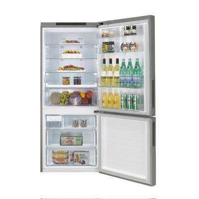 15 cu. ft. Bottom Freezer Refrigerator in Platinum Silver, Counter Depth