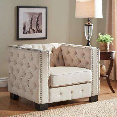Lincoln Park Beige Linen Button Tufted Arm Chair
