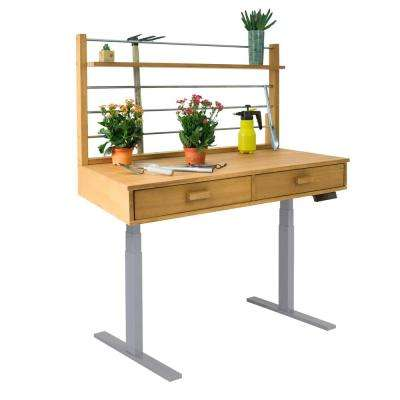 Sit to Stand 48 ft. x 26 ft. x 55 to 82 ft. Sand-Splashed Wood Potting Bench