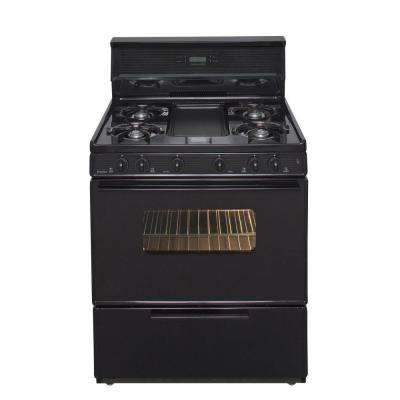 30 in. 3.91 cu. ft.Freestanding Gas Range with 5th Burner and Griddle Package in Black