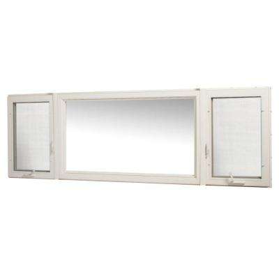 107 in. x 36 in. Vinyl Casement Window with Screen - White