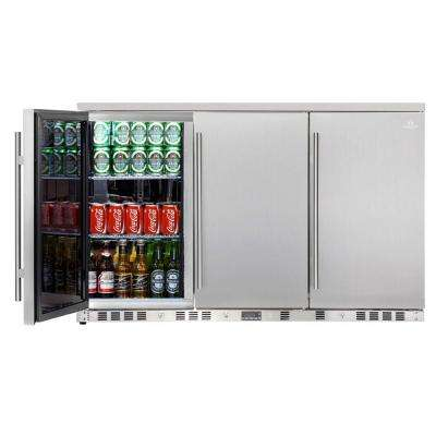 Single Zone 52.6 in. 260 (12 oz.) 3-Door Solid Stainless Steel Beverage Can Cooler