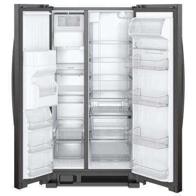 36 in. W 24.55 cu. ft. Side by Side Refrigerator in Black