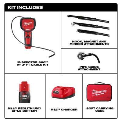 M12 12-Volt Lithium-Ion Cordless M-Spector 360-Degree Digital Inspection Camera Kit with One 1.5 Ah Battery and Tool Bag