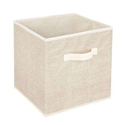12 in. x 12 in. Storage Box Cube in Faux Jute
