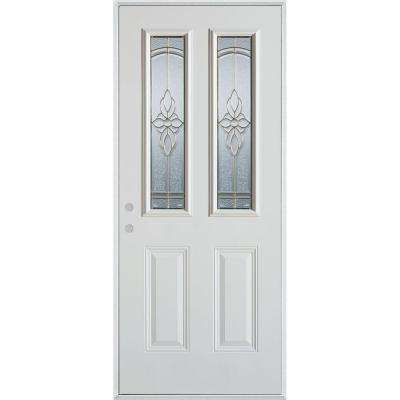 36 in. x 80 in. Traditional Zinc 2 Lite 2-Panel Prefinished White Right-Hand Inswing Steel Prehung Front Door