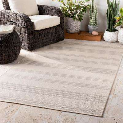 Keti Ivory 2 ft. x 3 ft. Striped Indoor/Outdoor Area Rug