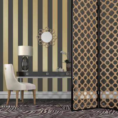 Mini Stripes Gold Self-Adhesive Removable Wallpaper