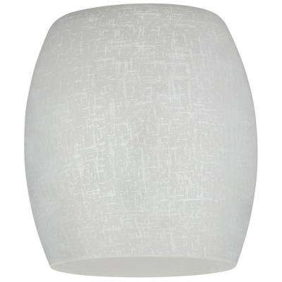 5-1/16 in. Hand-Blown White Linen Barrel Shade with 2-1/4 in. Fitter and 4-3/4 in. Width