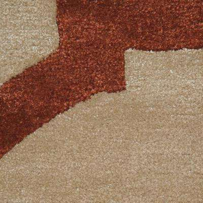 Sawyer Beige/Red 8 ft. x 8 ft. Round Area Rug