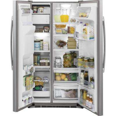 36 in. W 21.9 cu. ft. Side by Side Refrigerator in Stainless Steel, Counter Depth with Icemaker
