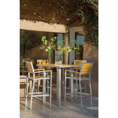 Basics Textured Silver 5-Piece All-Weather Patio Bar Set with PS Slats