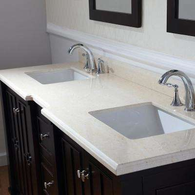 Positano 75 in. W x 22 in. D Bath Vanity in Tobacco with Marble Vanity Top in Sahara with White Basins